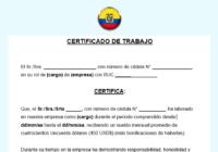 Modelo de certificado de trabajo en ecuador